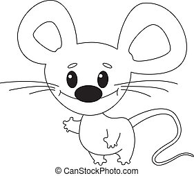 funny mouse outlined