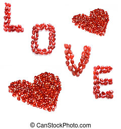 love - red pomegranate letters love and hearts