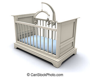 Cot for baby boy - 3D render of a cot for a baby boy