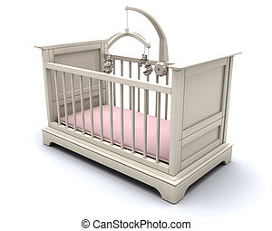 Cot for baby girl - 3D render of a cot for a baby girl