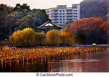 Ancient Chinese House, West Lake Hangzhou Zhejiang China -...