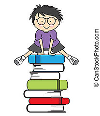 Boy jumping some books