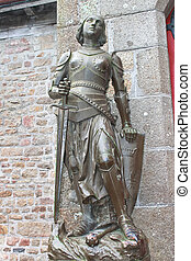 Statue of Joan of Arc in the abbey of Mont Saint Michel....