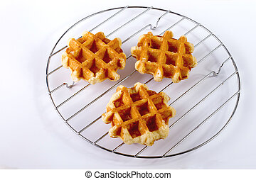 gaufre, sucre - gaufre sucre sucree, fond blanc,nouriture,...