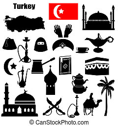 Turkey symbols - Traditional symbols of Turkey on white...