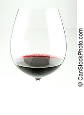 Red Wine in glass on white