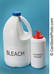 cleansing powder and bleach bottles, blue background