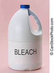 laundry bleach - closeup on bottle of laundry bleack, pink...