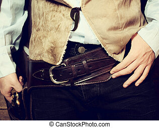 Western gun belt with Colt - Old western belt with Colt