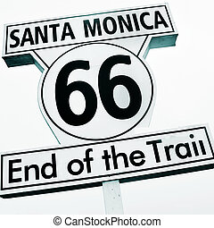 Santa Monica, 66, End of the Trail sign, in Santa Monica...