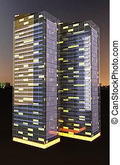 Skyscrapers in the Night - A contemporary skyscraper. 3D...
