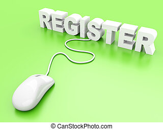 Register. 3D rendered Illustration.