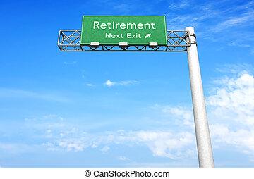 Highway Sign - Retirement - 3D rendered Illustration....