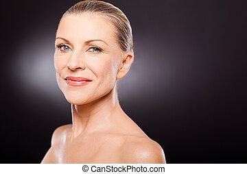 natural senior woman on black - natural beauty senior woman...