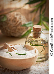 Spa setting with bath salt and soap