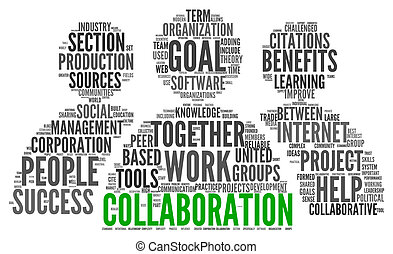 Collaboration concept in word tag cloud isolated on white...