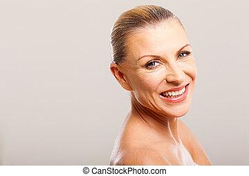 mid age woman close up portrait