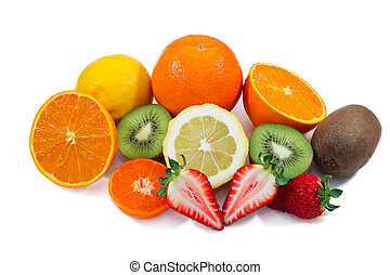 Fruits with Vitamin C - Some C vitamin fruits on white...