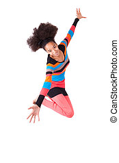 Black African American teenage girl with a afro haircut jumping of joy, isolated on white background