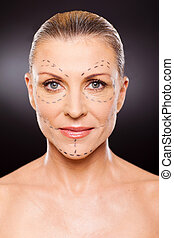 senior woman before plastic surgery - portrait of senior...