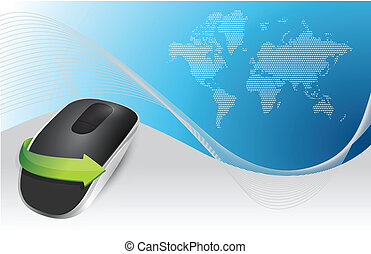 blue background and Wireless computer mouse illustration