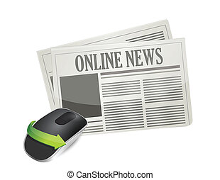 online news concept. Wireless computer mouse