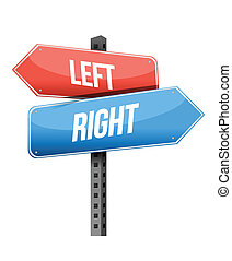 left, right road sign illustration design over a white...