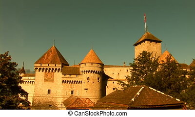 Chillon Castle a - an island castle located on the shore of...