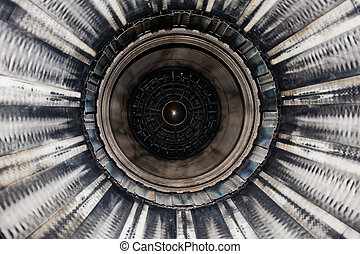 F16 Fighter exhaust - Close up of a F16 jet engine, seen...