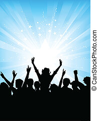 Crowd on starburst backgr