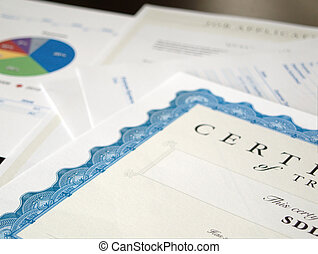 Certificate and Business Documents laid out on a dark table