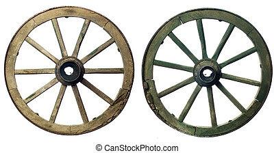 wheel - wooden wheels from a cart on a white background