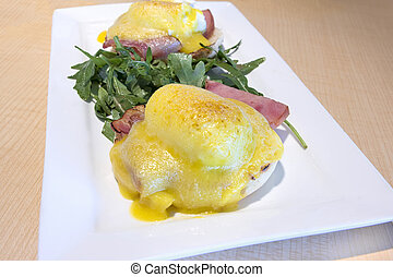 Eggs Benedict Breakfast Dish Closeup - Eggs Benedict with...