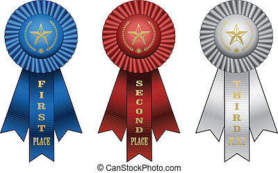 Award Ribbons - Illustration of a Blue ribbon for first...
