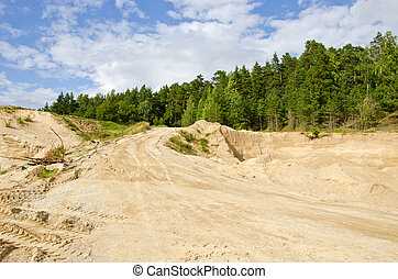 sand quarry in the forest - sand quarry in the summer forest