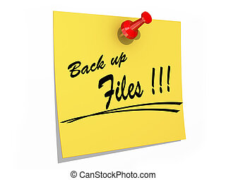 Back Up Files white background - A note pinned with the text...