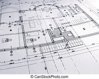 Architectural plan - closeup of architectural plan printout