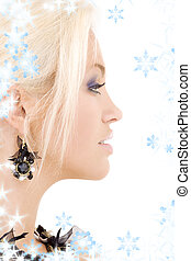 black jewelry - bright sideview picture of lovely blonde...