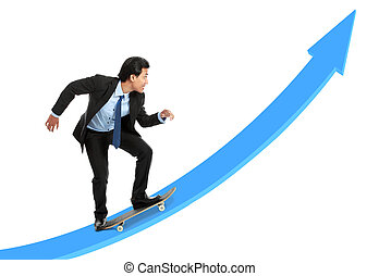 executive on skateboard going up the rising chart isolated...