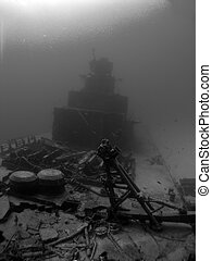 Ghost Ship - A Black and White shot of the Deck of a Sunken...