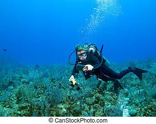 Scuba Diver Checking Gauges