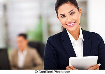 negócio, mulher, segurando, tabuleta, computador