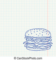 Hamburger Sketch - Beef burger with cheese as a blue sketch...