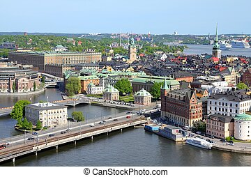 Stockholm, Sweden. View of famous Gamla Stan (the Old Town)...