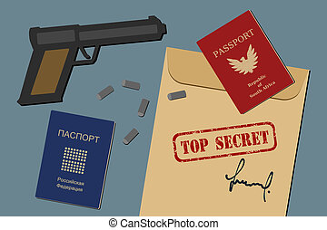 Espionage - Secret documents, fake passports, gun and...