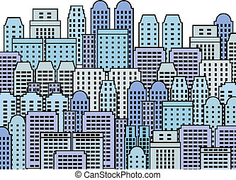 Skyscraper city - Blue city illustration - skyscrapers and...