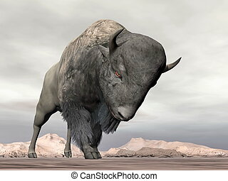 Bison charging - 3D render - Bison head down ready to...