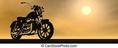 Motobike sunset - 3D render - Shadow of a motorbike with...