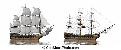 Old merchant ship - 3D render - Two old merchant ship, one...