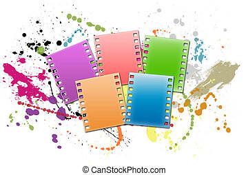 Film strip - Five colour shots on a white background with...